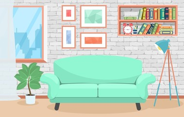 Interior living room. Room with sofa, bookshelves, paintings, flower. In flat style. Cartoon.