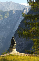 Statue of a famous slovenian climber and botaniste Julius Kugy