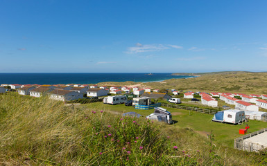 Fototapete - St Ives Bay Cornwall with static caravans and camping in summer with beautiful blue sky panoramic view