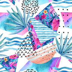 Poster de jardin Empreintes Graphiques Watercolor summer background with flowers, fan palm leaves, doodles, lines, geometrical shapes.