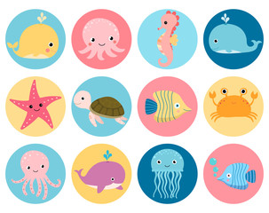 Cute vector sea animals icons in color circles for stickers and icons for children designs