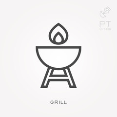 Line icon grill