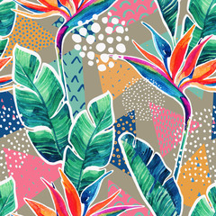 Watercolor tropical flowers with contour on geometric background.