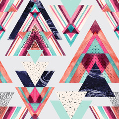 Printed roller blinds Graphic Prints Triangles with aztec ornament, watercolor, doodle, black marble textures.