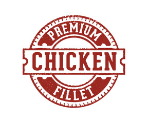premium chicken meats fillet sign stamp