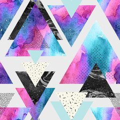 Triangles with watercolor, doodle, black marble textures.