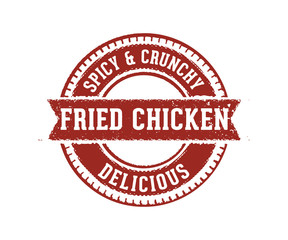 spicy and crunchy delicious fried chicken stamp
