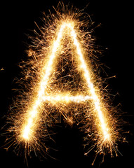 Sparkler firework light alphabet A isolated on black