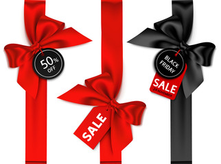 Wall Mural - Decorative set of vertical ribbon with bow and sale tag for black friday sale design. Vector holiday label
