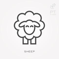 Line icon sheep