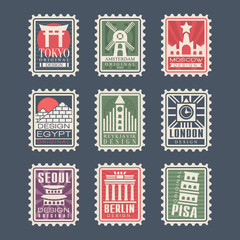 Collection of postage stamps, cities of the world, vector Illustrations, city stamps with symbols
