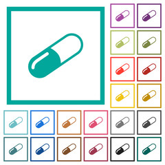 Pill flat color icons with quadrant frames