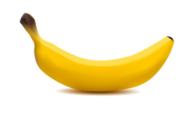 realistic 3d ripe yellow banana on a white background made with a gradient mesh