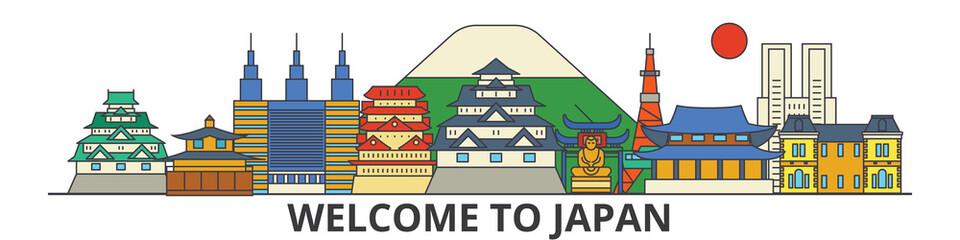Japan outline skyline, japanese flat thin line icons, landmarks, illustrations. Japan cityscape, japanese vector travel city banner. Urban silhouette