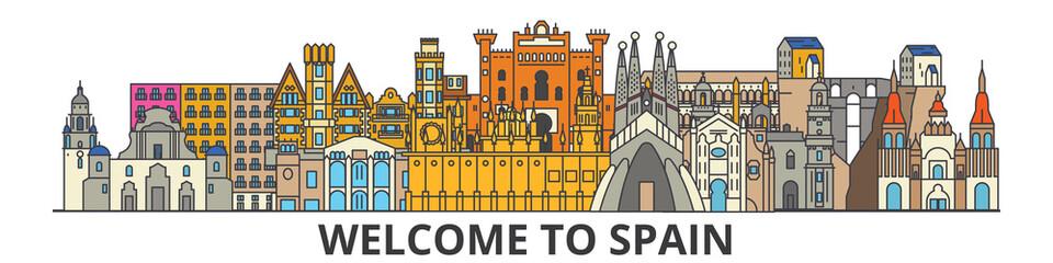 Spain outline skyline, spanish flat thin line icons, landmarks, illustrations. Spain cityscape, spanish vector travel city banner. Urban silhouette