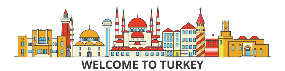 Turkey outline skyline, turkish flat thin line icons, landmarks, illustrations. Turkey cityscape, turkish vector travel city banner. Urban silhouette