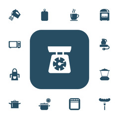 Set Of 13 Editable Cook Icons. Includes Symbols Such As Electric Kettle, Saucepan, Wave Oven And More. Can Be Used For Web, Mobile, UI And Infographic Design.
