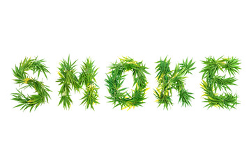 Word SMOKE made from green cannabis leaves on a white background. Isolated
