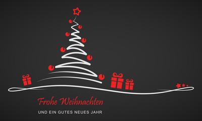 """Weihnachten - """"Weihnachtsbaum mit Geschenken"""" (Rot/ Schwarz)"""