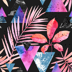 Poster de jardin Empreintes Graphiques Watercolor exotic leaves, grunge textures, doodles seamless pattern in rave colors