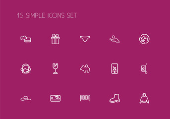 Set Of 15 Editable Shopping Outline Icons. Includes Symbols Such As Hand Cart, Online Trade, Gift. Can Be Used For Web, Mobile, UI And Infographic Design.
