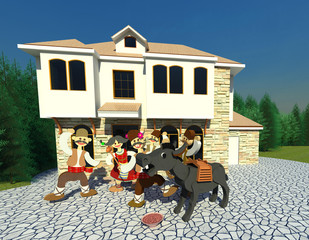Cunning Peter tales 3D illustration. Bulgarian folklore character Cunning Peter or Witty Peter and the tale about donkey eating bean soup. Collection.
