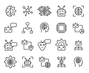 Premium set of machine learning line icons.