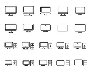 Simple collection of computer related line icons.