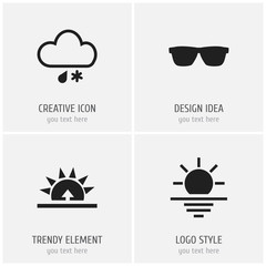 Set Of 4 Editable Weather Icons. Includes Symbols Such As Morning, Hailstorm, Eyeglasses And More. Can Be Used For Web, Mobile, UI And Infographic Design.
