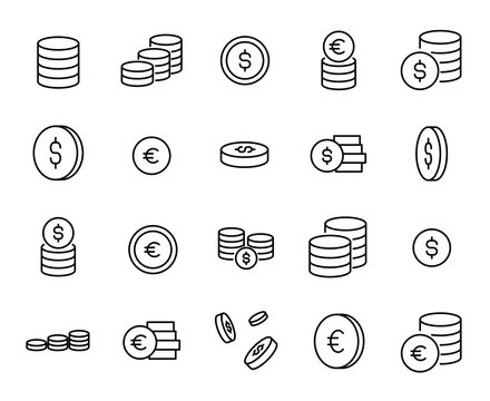Simple collection of coin related line icons.