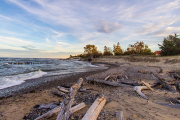 Scenic Autumn Lake Superior Beach Background. Driftwood beach on Lake Superior with the Whitefish Point Lighthouse. Whitefish Point is in the Upper Peninsula of Michigan on the shipwreck coast.