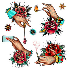 old school tattoo roses and hands set