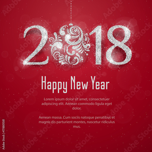 2018 happy new year background with silver glitter numbers on red background vector new year