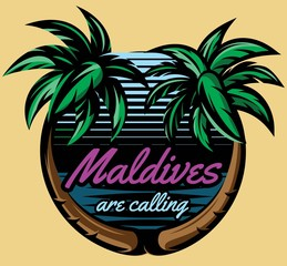 Template for logo on the theme of tourism with palm trees