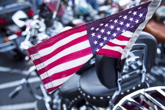 american flag on motorcycle