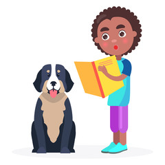 Surprised Kid Stands with Book and Pedigree Dog