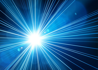 Blue light shining from darkness with realistic lens flare. Vector illustration