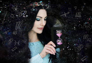 Magic witch and zodiac signs
