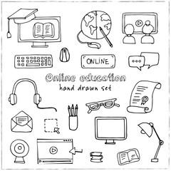 Hand drawn doodle online education set.