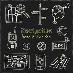 Hand drawn doodle navigation set.