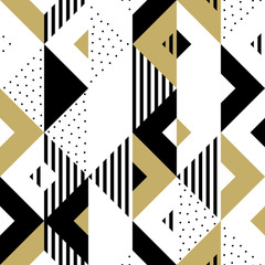 Triangle geometric abstract golden seamless pattern. Vector background of black, white and gold triangular pattern or square swatch ornament texture or mosaic design backdrop tile template