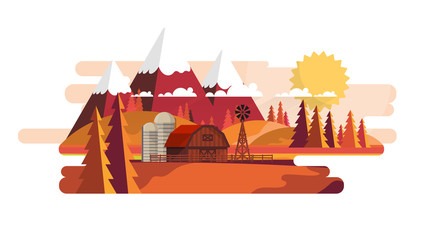 Flat Vector Farmland Landscape Illustration in Autumn. Countryside Vector Background.
