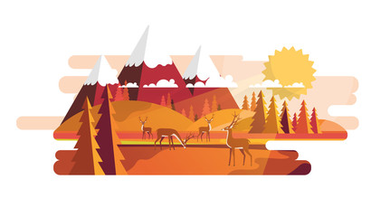 Flat Vector Landscape Illustration in Autumn. Countryside Vector Background.