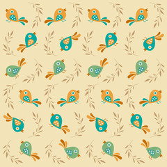 Cute seamless pattern with birds, vintage style