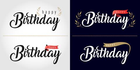 Happy birthday text logo or banner. Vector illustration