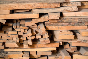 Wood timber in the sawmill