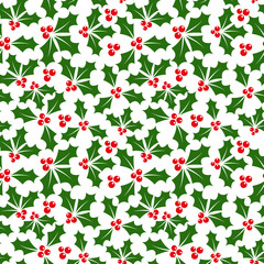 Winter background of holly seamless pattern