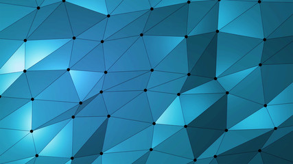 Dark blue creative geometric triangular background in Origami style with dots, lines and gradient as a pattern for your business design.