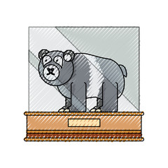 flat line colored    bear  exhibition over white background  vector illustration