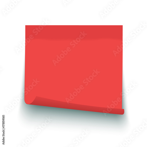 red vector post note sticky memo label 2 with curled corner